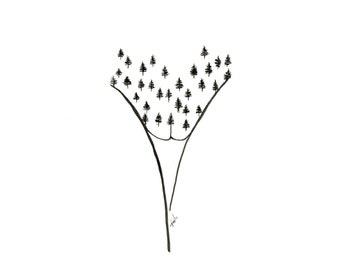 minimalist ink print: Forest Reclaiming Land Pt. II