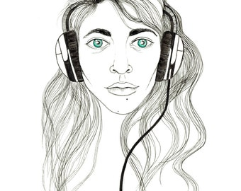 minimalist ink print: Headphones