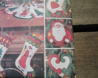 Butterick 5784 Pattern, Felt Ornaments, Tree Skirt, Stockings