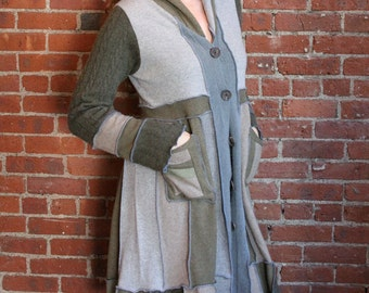 100 percent cashmere- long sweater coat- recycled sweater- duster long cardigan- long button down woodland- ooak- eco clothing- size medium