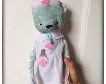 Birthday Sale 12 inch Artist Handmade Mint Plush Teddy Bear Nurse Sofia by Sasha Pokrass