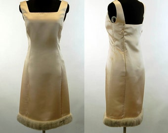 1960s dress satin and fur sheath cocktail dress ivory holiday dress Size M
