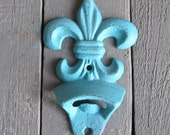 Fleur De Lis Bottle Opener, Bar Accessory, Kitchen Gadget, Aqua Blue Paris Decor, Shabby Cottage Chic, Farmhouse Decor, Barware Decor