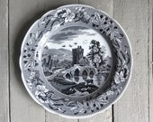 Vintage Spode Plate, Collectible Plate, Lucano, Black and White Plate, Transferware Serving Plate, Dining Decor, Victorian Plate