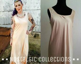NEIMAN MARCUS Blush Slip Dress. breathtaking & luxurious. silk pink nude floor length evening gown. vintage 90s. fits sizes 8 10 12
