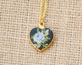 Vintage Blue Rose Enamel Heart Necklace - Limoge Heart Necklace - Valentine's Day, Shabby Chic