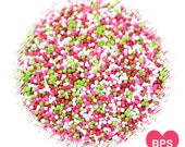 Berry Fun Nonpareil Sprinkles in Pink, Red, Lime & White, Strawberry Party Sprinkles, Nonpareils, Pink Sprinkles, Red Sprinkles, Fairy Bread