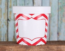 Small Takeout Cup, Red Small Ice Cream Container, Chevron Soup Cup, Christmas Packaging, Candy Container, Popcorn Cup, Wedding Favor Cup (5)