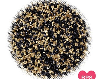 Chic Black & Gold Sparkling Sugar, Black and Gold Sprinkles, Christmas Sprinkles, Black Sparkling Sugar, Gold Sparkling Sugar,