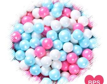 Gender Reveal Sugar Pearls, Gender Reveal Sprinkles, Large Size 7mm Pearls, Candy Beads, Sugar Pearls, Baby Shower Sprinkles