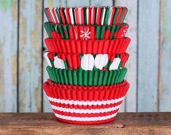 Christmas Cupcake Liners, Holiday Cupcake Liners, Red Cupcake Liners, Green Cupcake Liners, Christmas Liners, Stripe Cupcake Liners (150)