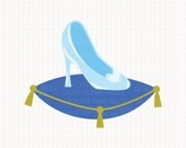Disney Inspired Glass Slippers from Cinderella Digital CLIP ARTS personal and commercial use for invitations, cards, party supplies