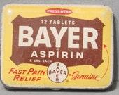 Vintage 2 Medicine Tin Containers / Anacin Bayer Aspirin Headache Pain Relief Pill Box Case Apothecary Pharmacy Pocket Size Retro Storage