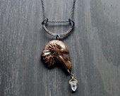 Raven Pendant Raven Necklace Animal Jewelry Bird Necklace Spirit Totem Raven Birth Totem Magic Tribal Statement Necklace