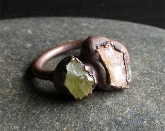 Morganite Dual Stone Chrysoberyl Ring Copper Gemstone Raw Crystal Ring Boho Ring Size 8 Rough Stone Jewelry Magic