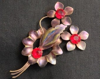 Vintage HUGE 4 inch Copper Plated Brooch, Pin with Red Rhinestones.  Coppertone Flower.  Hollywood Glamour.  1950