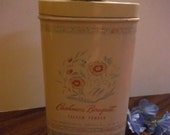 Vintage Cashmere Bouquet Talcum Powder Advertising Litho Ivory Pink & Blue Tin FULL Perfume Flowers 40s/50s Smells Great