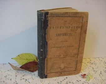 On Sale...Antique 1849 The United States Arithmetic Math Book Vodges Leather Mathematics School Textbook Primitive