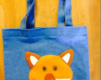 Fox Tote Bag/Blue/Ready to Ship