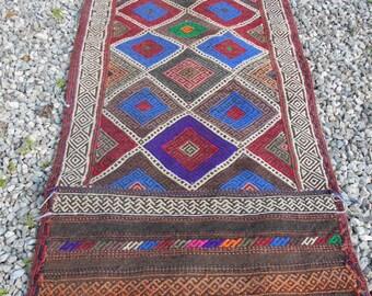5 ft 1 x 2 ft  Smaller Runner Afghan Gazi  hand woven Rug/Kilim/Tapis  154 x 60 cm