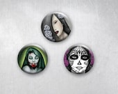 Deadly Beauties (Zombie, Vampire and Day of the Dead Girl) Pinback Buttons, Original Art Design, 1.25 inch, Set of 3