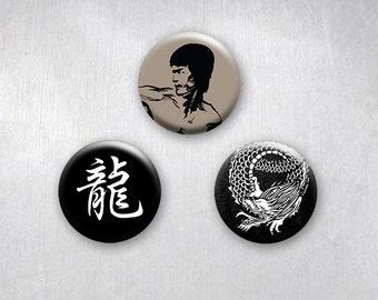 Martial Arts Dragon Pinback Buttons, Original Art Design, 1.25 inch, Set of 3