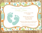 Baby Shower, Invitations, Boy, Cute, Polka Dots, Feet, Toes, 10 Printed Invites, Blue, Orange, Free Shipping, Customizable, Sweet Baby