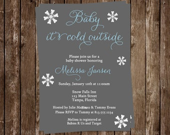 Winter Baby Shower Invitations, Boys, Blue & Gray, Little Snowflake, Baby It's Cold Outside, Free Shipping, Set of 10 Printed Cards, BCOBL