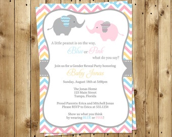 Elephant Gender Reveal Party Invitations, Boy or Girl Shower, Chevron Stripes, 10 Printed Invites, Free Shipping, CHEGR