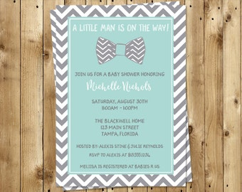 Bowtie, Baby Shower Invitations, Sprinkle, Little Man, Chevron, Stripes, Aqua, Mint, Gray 10 Printed Invites, FREE Shipping, Customizable