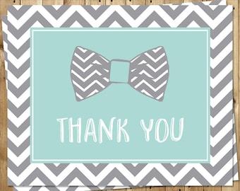 Bowtie, Thank You Cards, Baby Shower, Boys, Sprinkle, Little Man, Aqua, Mint, Chevron, Stripes, 24 Folding Notes, FREE Shipping, BOWAQ
