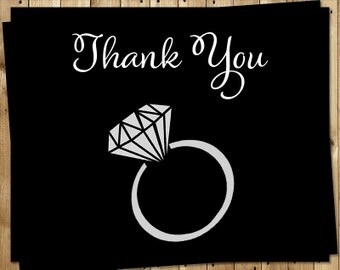 Engagement Ring, Thank You Cards, Black, White, Bridal Shower, Wedding, Diamond, Ring, 24 Printed Folding Notes, SYSBK, She Said Yes