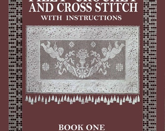 """Mary Fitch """"Radcliff Series"""" #1 c.1915 - Pattern Book of Vintage Filet Crochet and Cross Stitch"""