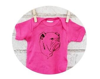 Baby Onepiece, Hand Printed English Bulldog, Bright Hot Pink, Baby Girl, Screen-printed Clothing, Short Sleeved, Shower Gift, Dog Lover