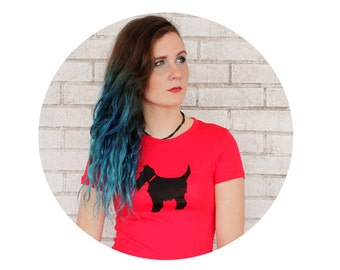 Scottish Terrier Screen-printed T-shirt, Ladies Scottie Dog Graphic Tee, Bright Red with Black Ink, Animal Lover Family Pet, Women's T Shirt