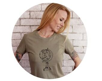 Jet Setter Globe Tshirt, Screen-Printed Shirt, Light Olive Drab, Traveling Around The World, Short Sleeved, Vintage Soft Cotton Crewneck