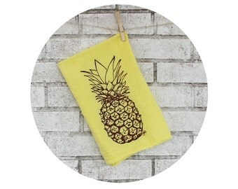 Pineapple Tea Towel in Yellow with Brown Ink, Welcome Gift, Kitchen Decor, Housewarming Gift, Hand Screenprinted, Fresh Fruit, Produce, Food