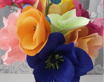 Paper bouquet, crepe paper flowers, faux flowers, alternative bouquets, paper flowers, wedding flowers,Bridesmaid bouquet, first anniversary