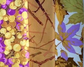 Martha Negley fabric, OOP, half yard bundle, gold lilac fall fabric bundle, leaf twig nature fabric