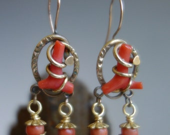 Victorian Branch Coral Lovers Knots Earrings
