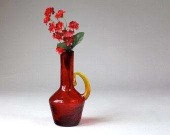 Vintage Red Crackle Glass Bud Vase, Mid Century Glass Vase, Mini Glass Urn ,Red Yellow, Glass Decor ,Rough Pontil Blown Glass Vase 1960s