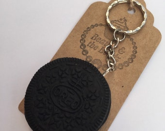Polymer clay novelty chocolate oreo biscuit keyring