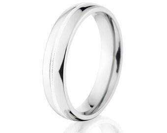 Millgrain Wedding Band, Cobalt Ring, Cobalt Wedding Band American Made To Order: CB-6HR1CG-MGRN-P