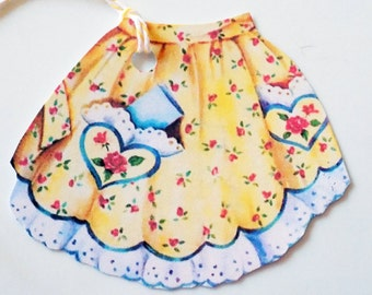 Yellow Apron Tags - Set of 3 - Retro Apron Tags - Mother's Day Tags - Mid Century - Flowered Apron - Vintage Kitchen - Thank Yous- Mom Gift