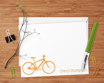 Retro Bicycle - Set of 8 CUSTOM Personalized Flat Note Cards/ Stationery