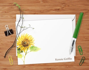 Golden Sunflower - Set of 8 CUSTOM Personalized Flat Note Cards/ Stationery