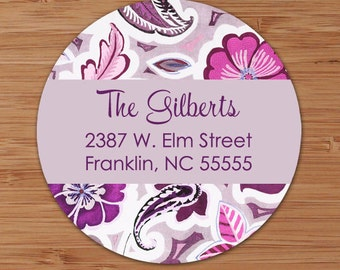 Purple Mod Floral Custom Address Labels or Stickers