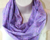 Infinity Scarf, Recycled Silk Sari Scarf, Lilac and Pink Floral Pattern Silk Loop Scarf, Womens Scarf