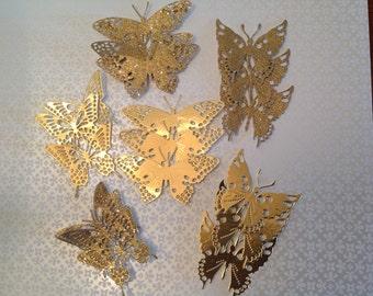 Beautiful  Gold Paper Butterflies     Bridal Shower    Wedding