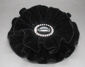 Black Velvet Oval Ribbon Double Cocarde Millinery Applique